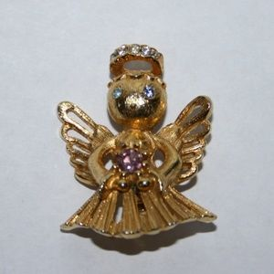 Vintage gold angel brooch with pink stone OCT